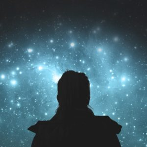 Illustration of girl looking at stars