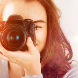 Closeup of woman taking photo