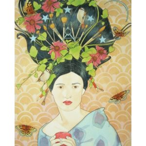 Painting of woman with flowers and art supplies in hair