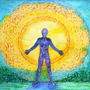 painting of man and energy field