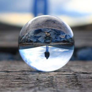 Upside down reflection in a drop of water