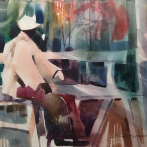 Abstract painting of man on bench in park