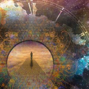 Figure walking through surrealistic clock-themed tunnel