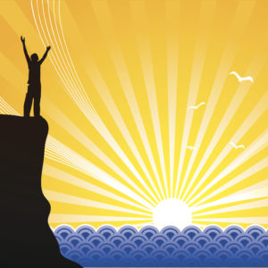 Illustration of man standing on a cliff welcoming the rising sun