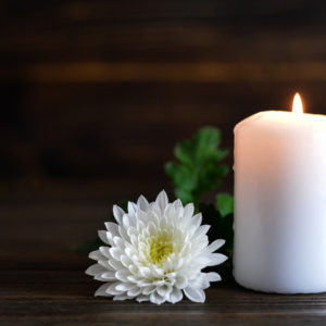 white candle and white flower