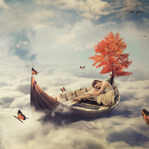 Young lonely woman drifting on boat above clouds. Abstract concept.