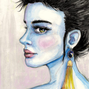 Portrait of a blue lady