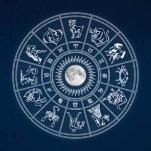 Zodiac sign illustration circling moon