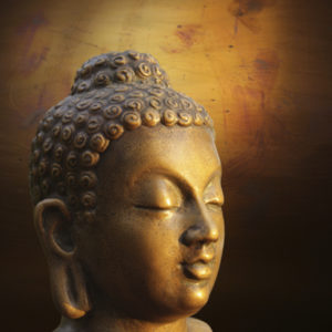 A closeup of a statue of Buddha