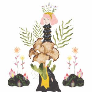 Estée Preda's painting titled Cloud Collar Mushroom Totem