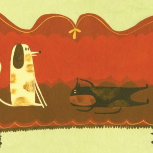 Illustration of dogs on red couch