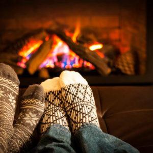 feet cozy fireplace