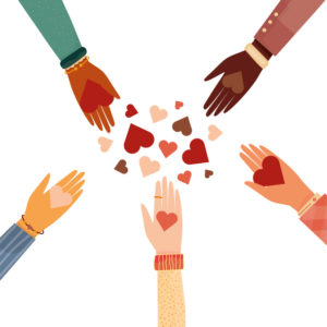 Modern vector illustration of diverse Hands with a heart symbol