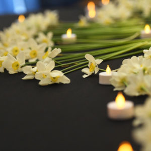 daffodils and candles