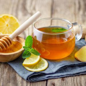 Fresh ginger root cut for ginger tea
