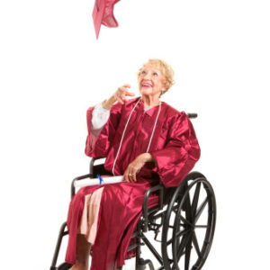 Disabled Grandmother Graduate Tosses Cap.