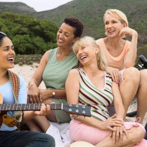 women singing together