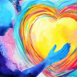 human and love spirit powerful energy connect to the universe abstract art watercolor