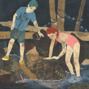 An image of children playing at a creek