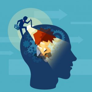 vector of man climbing into person's head using hypnosis for anxiety relief