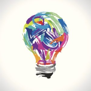 illustration of painted light bulb