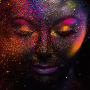 Graphic of woman with glitter