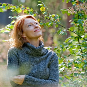 Woman content in nature