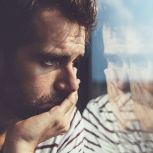 man worrying on bus