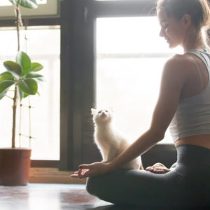 Woman meditating with cat