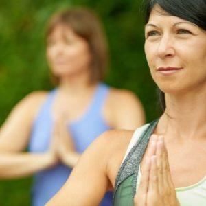 Women practicing yoga