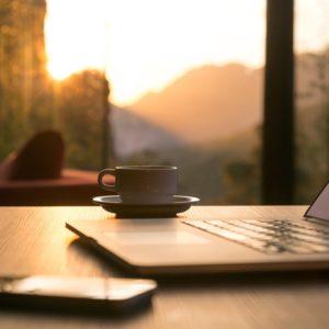 Computer in morning light