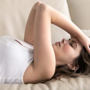 woman feeling pain