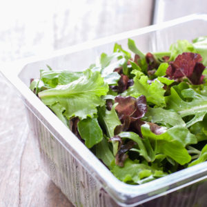 salad in plastic container