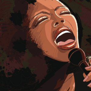 Black woman dancing in living room at home illustration