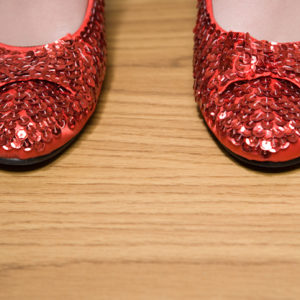 sparkly red flat shoes