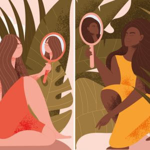 illustration of two women looking at themselves in hand mirrors surrounded by leaves