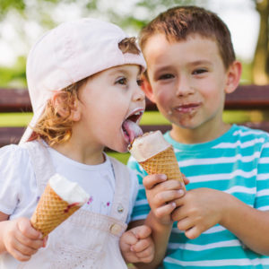 sharing ice cream