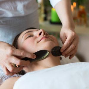 Woman receiving spa treatment