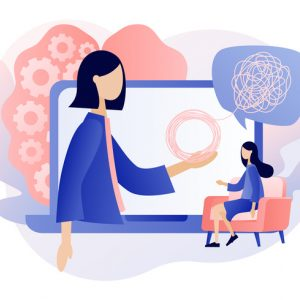 Illustration of a virtual session with a spiritual advisor