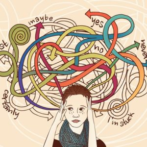 illustration of woman and her thoughts