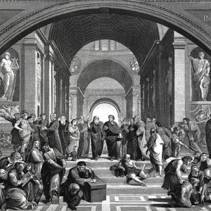 The school of Athens antique engraving after Raphael's fresco of philosophers