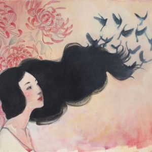 Illustration of woman's dark hair turning into birds