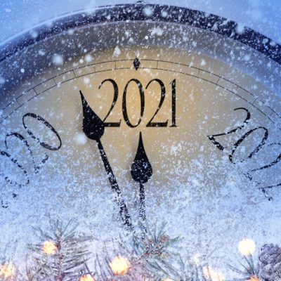 clock with years on it five minutes to 2021