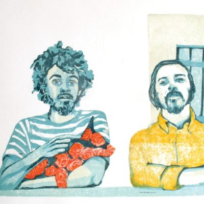 illustration of two men and a pet