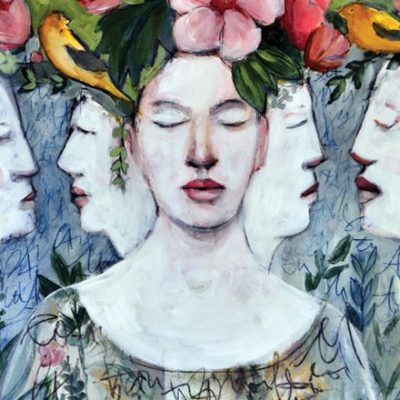 Illustration of woman with flowers