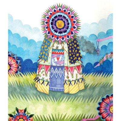 Watercolor of tribal woman