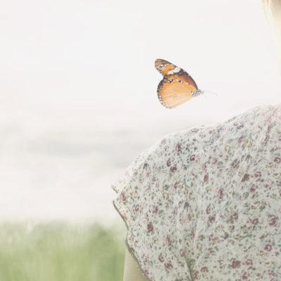 a colorful butterfly about to land delicately on the shoulder of a girl