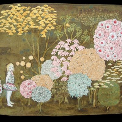 Tapestry of girl and colorful trees