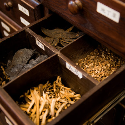 A wooden chest of Chinese Herbal Medicine