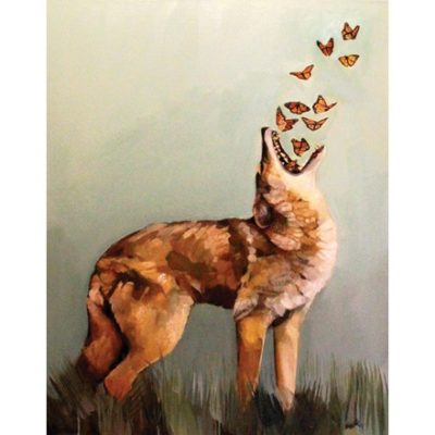 Illustration of coyote with butterflies flying from mouth
